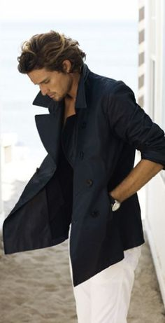 Ideal Style - Male Fashion - A man with hair that you can run your fingers through is always a plus. Love guys in simple beach looks - a nice coat on cool days