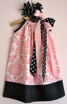 Cutest pink and black pillowcase dress ever! DIY tutorial.