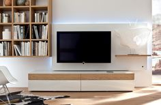Best Collection Of Modern Living Room Wall Unit Ideas : Minimalist Wooden Wall Unit Furniture with Two Drawer Under TV and Edge Wooden Plaid...