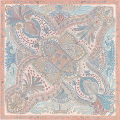 "Le Jardin de la Maharani Hermes silk twill scarf, hand-rolled, 36"" x 36"" (100% silk) Color : rose pâle/aqua/poudre Designed by Annie Faivre Ref. : H003070S 13"