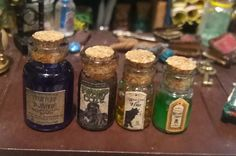 4 jars witch potion for dollhouse by TheDollHouseNym on Etsy