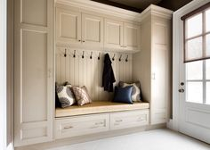 44 Adorable Little Mudroom Entryway Storage Design Ideas - entryway ideas Mudroom Cabinets, Mudroom Laundry Room, Storage Cabinets, Mud Room Lockers, Tall Cabinets, Kitchen Cabinets, Storage Units, Kitchen Doors, Mudrooms With Laundry