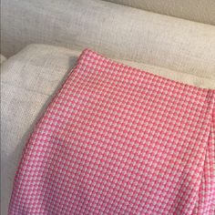 """Vintage pink and white midi skirt Perfect vintage condition pink and white A line polyester skirt.  Original tag says 10.  Fits 2-6. Adorable throw back piece.  Perfect with boots, flats or heels.   15'"""" waist.  26"""" in length. Vintage Skirts Midi"""
