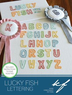 Lucky Fish Lettering modern alphabet hand by KFNeedleworkDesign