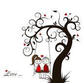 Cartão de história de amor, vetor — Vetor de Stock