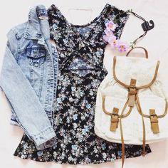 Outfit #664 - black and blue floral skater dress (forever 21, $17.90) - light wash denim jacket (H&M, $17.00) - white converse (macy's, $29.98) - white crochet bakpack (ali express, $13.23) - light...