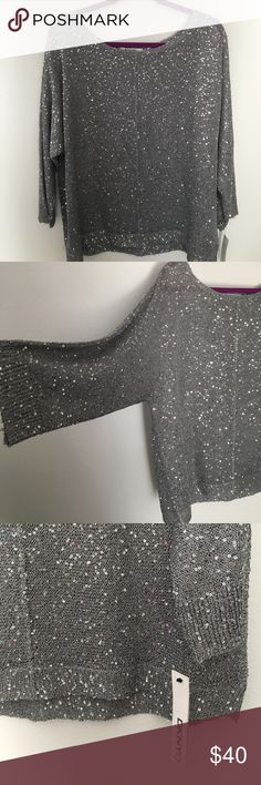 DKNY sweater DKNY pull over sequins sweater grey DKNYC Sweaters Crew & Scoop Necks