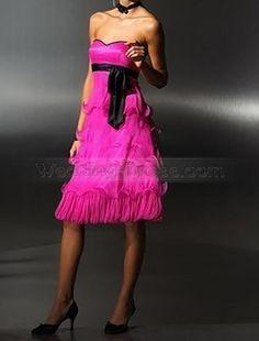 FuChsia A-Line Romantic Flounce Sweet-Heart Strapless Ruffles Pleated Sash Organza Party Dress $420.99 #aline #strapless #bridal #bridal gown #wedding dress #flounce #dress #fuchsia #sweetheart #ruffles #my wedding #wedding #organza #romantic #sash #party #pleated