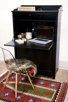 Hidden Desks oxford tall secretary desk, 1-door/2-drawer, white home decorators