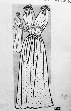 1940s Goddess Nightgown Lingerie Pattern Anne Adams 4651 Plunging V Neckline Amazing Design Bust 32 Vintage Sewing Pattern FACTORY FOLDED