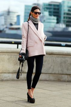 simple winter layers: skinny jeans, leather tope, & a pop of color with a pink coat/blazer
