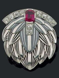 Raymond Templier - An Art Deco platinum, enamel, synthetic ruby and diamond brooch, about 1925. 4.5 x 4.0cm. #RaymondTemplier #ArtDeco #brooch