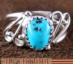 American Indian Jewelry Turquoise And Sterling Silver Ring Size 6-1/4 AS53247