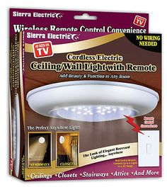 Wireless Ceiling Wall Light With Remote Control Switch Stairs Closet Led New 981917111990 Ebay