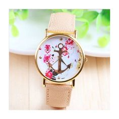 Flowers anchor leather unisex teen sailor watch MyFriendShop (130 MXN) ❤ liked on Polyvore featuring jewelry, watches, flower watches, unisex watches, flower jewelry, leather watches and leather jewelry