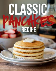 This is the BEST Classic Pancake Recipe because it is buttery, fluffy and super easy to make. No buttermilk, no whipping egg whites, just a super quick and delicious pancake that& loaded with flavor! Classic Pancake Recipe, Classic Lasagna Recipe, Best Pancake Recipe, Pancake Recipe No Buttermilk, Quick And Easy Pancake Recipe, Easy Homemade Pancakes, Pancake Recipe Ingredients, Tasty Pancakes, Fluffy Pancakes