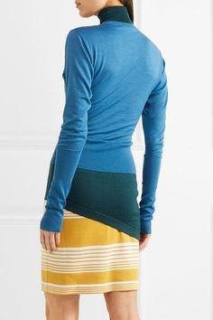 J.W.Anderson - Layered Striped Merino Wool Turtleneck Mini Dress - Blue - x small