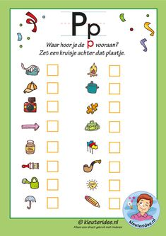 Pakket over de letter m blad 10 Waar hoor je de p vooraan, letters aanbieden aan kleuters, kleuteridee, free printable Preschool Letters, Preschool Worksheets, Finger Plays, Letter D, Home Schooling, Kids Education, Pre School, Writing A Book, Elementary Schools