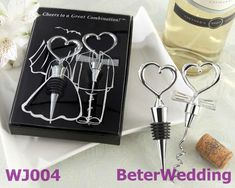 Eat, Drink and Be Married! On the day your two loving heartsbecome forever joined, thank your guests for sharing the moment with acleverly packaged, fun favor. This whimsical wine set with itsheartwarming design creatively celebrates the bride and groom's Wedding Favors And Gifts, Wedding Present Ideas, Party Favors, Party Gifts, Wine Favors, Wine Bottle Stoppers, Bottle Opener, Beer Opener, Wine Bottles