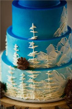 for the Monty or forest ranger Modern Mountain Scene cake from Intricate Icings Cake Design Gorgeous Cakes, Pretty Cakes, Cute Cakes, Amazing Cakes, Icing Cake Design, Cake Designs, Mountain Cake, Specialty Cakes, Buttercream Cake