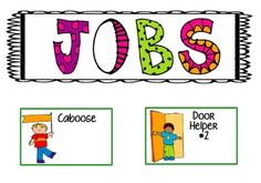 I created classroom jobs as cards to makeover my job chart. You may use the cards to create or makeover your job chart as well. I also use the cards to label my classroom floor where the children line up. Classroom Job Chart, Classroom Helpers, Classroom Labels, Kindergarten Classroom, Classroom Decor, Classroom Organization, Classroom Jobs Free, Organizing, Classroom Signs