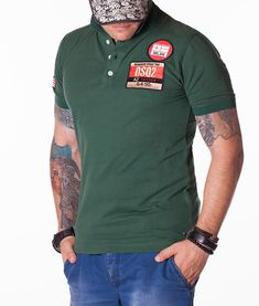 New Casual Polo Shirt t Shirts DSQUARED2 DSQ2 Green Logo Line Blue Tags Cotton