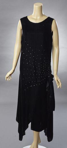 1920s Black Silk Velvet and Rhinestone Evening Gown | Woodland Farms Vintage