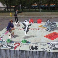 3D Monopoly Side Walk Art