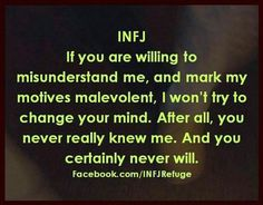 This phenomenon happens at times, and I never understood it until I learned more about my personality type. This particular INFJ statement is amazingly accurate. I didn't even know that INFJs were prone to this problem. Infj Mbti, Intj And Infj, Isfj, Introvert, Infj Personality, Myers Briggs Infj, Infj Type, All That Matters, Sayings