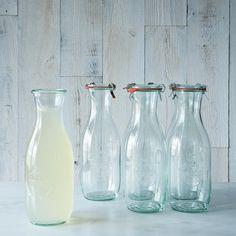 From Food52:  Weck Juice Jar 1 Litre (Set of 6) costs $30 for 6.  Good gift idea for Stephanie and Jason's wedding...