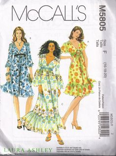 V Neckline Maxi Peasant Hippy Style Dress Mccalls 5805 Sewing Pattern Plus Size 16, 18, 20 Bust 38, 40,  42