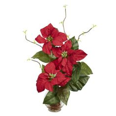 Poinsettia in Fluted Vase - Silk Flower Arrangement Time stands still with this poinsettia offering! Although it's widely known as a holiday plant, people love the poinsettia, regardless of the time of year. With this poinsettia offering, we've taken our classic reproduction and present it in a beautiful fluted vase that perfectly fits with the red, lush blooms. We've done plenty of poinsettias, but none quite like this one. She makes a great gift as well! $39.99