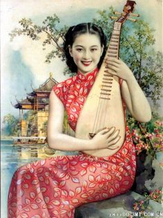 Old Shanghai poster, American dress style set in a Chinese background.