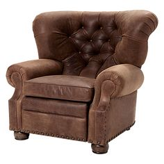 "Beacon 44"" Leather Tufted Motion Recliner in Bidford Sycamore"