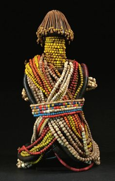 Africa | Fali doll from northern Cameroon | Wood, glass beads, cotton threads, coloured discs