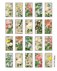 vintage flowers 1 x 2 inch domino tile pendant images Printable Download Digital Collage Sheet diy altered art jewelry