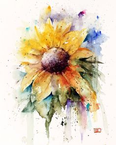 SUNFLOWER limited edition print from an original watercolor painting by Dean Crouser. Please be sure to visit Dean's other wildlife, burn and floral art. Signed and numbered, edition limited to 400 prints. Watercolor Artists, Watercolor Print, Watercolor Flowers, Watercolor Paintings, Watercolor Paper, Watercolor Portraits, Watercolor Landscape, Abstract Paintings, Watercolor Tattoo