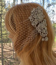 Bandeau Birdcage Veil, Wedding Bandeau Veil, Bridal Blusher Veil, French Netting Veil, Short Rhinestone Veil