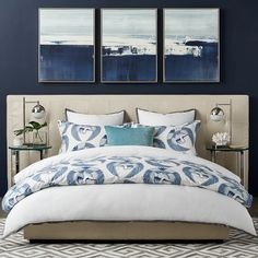 Flying Crane Printed Organic Bedding, Blue #williamssonoma