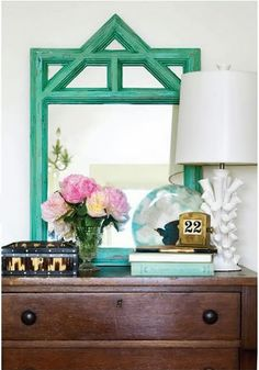 my favorite part?  that lamp!  no, no...that vintage daily calendar!  wait, maybe it's the pink peonies!  (I think I just love it all.)