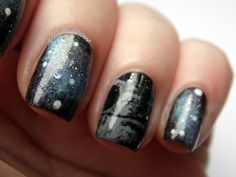 Star Wars Death Star nails inspired by Nail It! magazine. Close up of the Death Star nail.