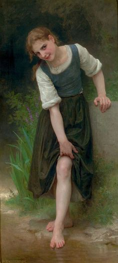 Le gué     William Adolphe Bouguereau (1825 – 1905, French)