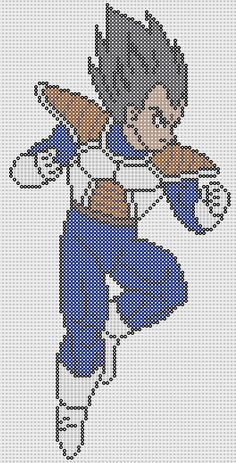 Vegeta Dragon Ball Perler Bead Pattern by Sebastien Herpin