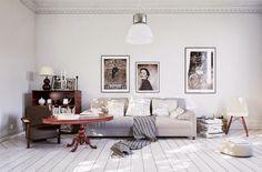 30 inspirations déco pour votre salon -  ♡ On aime : Ces cinquante nuances de gris ✐ On retient : Les cadres alignés par leur base / sur la ligne du canapé et non pas aligné par le haut / au plafond