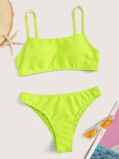Neon Lime Thin Strap Top With Panty Bikini Set swimwear swimwear Cape swimwear swimwear jumpsuit swimwear swimwear swimwear swimwear Bikini Swimwear, Bikini Set, Bikini Ready, Cute Bathing Suits, Cute Swimsuits, Bra Types, Beachwear For Women, Lingerie Set, Teen Fashion