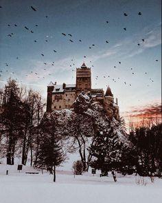 didusuzi:Am partajat această imagine pe WeHeartIt Fantasy Landscape, Tumblr Posts, Romania, Poster, Snow, Travel, Outdoor, Castles, Landscapes