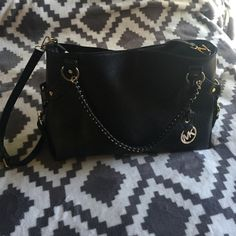 Michael Kors purse Leather Black bag with gold metal. only used twice! There is an additional long strap for over the shoulder/cross body  option! Michael Kors Bags Shoulder Bags