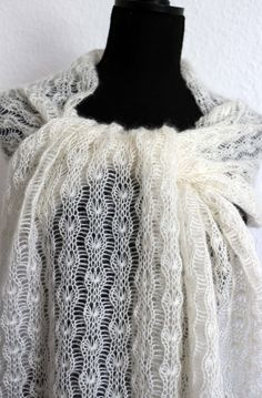 Items similar to Scarf/stole/bridal Stole on Etsy Knitted Shawls, Crochet Shawl, Knit Crochet, Knitting Machine Patterns, Knitting Stitches, Casual Summer Outfits For Women, Triangle Scarf, Lace Patterns, Michelle Lewin