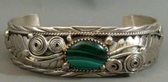 SIGNED Vintage NAVAJO Pawn STERLING SILVER & Malachite Cuff Bracelet 1.103 OZ's #NavajoOldPawn