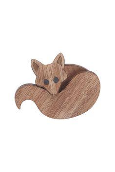 Fox Brooch Small - wood